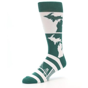 Image of Green White Michigan Men's Dress Socks (side-2-09)