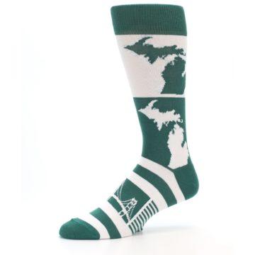 Image of Green White Michigan Men's Dress Socks (side-2-10)