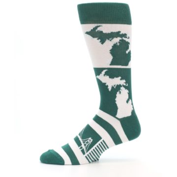Image of Green White Michigan Men's Dress Socks (side-2-11)