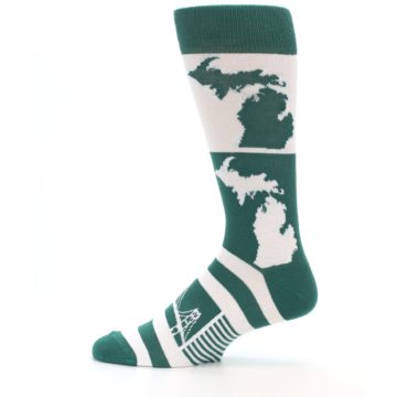 Image of Green White Michigan Men's Dress Socks (side-2-12)