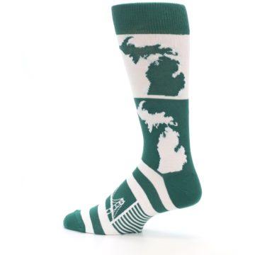 Image of Green White Michigan Men's Dress Socks (side-2-13)