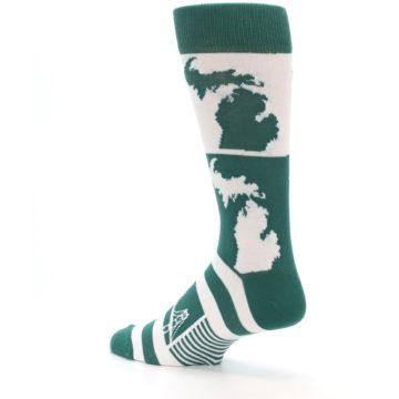Image of Green White Michigan Men's Dress Socks (side-2-back-14)