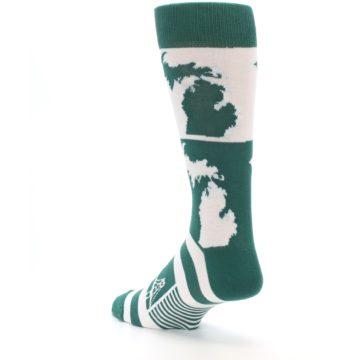 Image of Green White Michigan Men's Dress Socks (side-2-back-15)