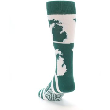 Image of Green White Michigan Men's Dress Socks (side-2-back-16)