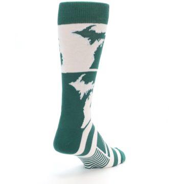 Image of Green White Michigan Men's Dress Socks (side-1-back-21)