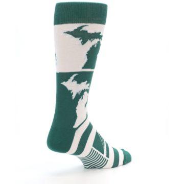 Image of Green White Michigan Men's Dress Socks (side-1-back-22)