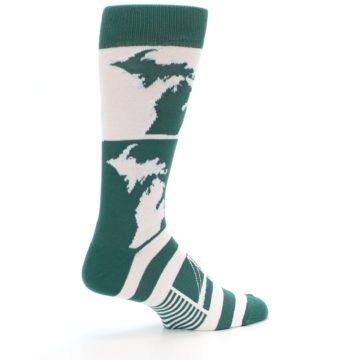 Image of Green White Michigan Men's Dress Socks (side-1-23)