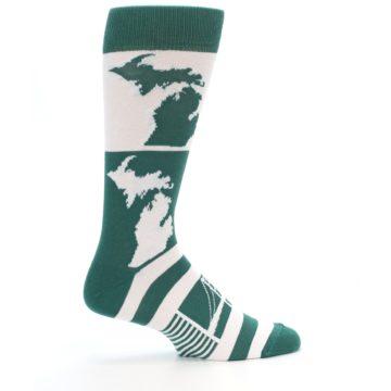 Image of Green White Michigan Men's Dress Socks (side-1-24)