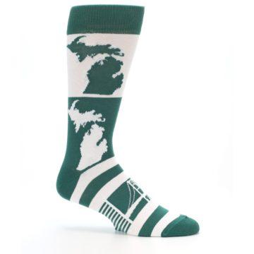 Image of Green White Michigan Men's Dress Socks (side-1-25)