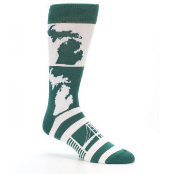 Image of Green White Michigan Men's Dress Socks (side-1-26)