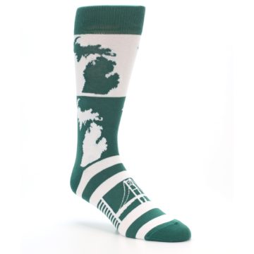 Image of Green White Michigan Men's Dress Socks (side-1-27)
