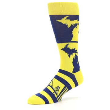 Image of Yellow Blue Michigan Men's Dress Socks (side-2-09)