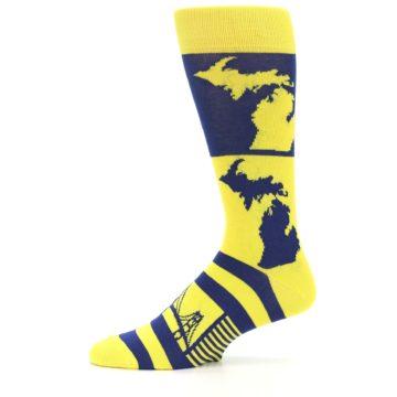 Image of Yellow Blue Michigan Men's Dress Socks (side-2-11)