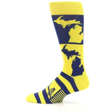 Image of Yellow Blue Michigan Men's Dress Socks (side-2-12)