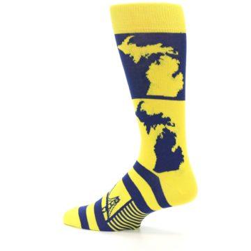 Image of Yellow Blue Michigan Men's Dress Socks (side-2-13)