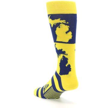 Image of Yellow Blue Michigan Men's Dress Socks (side-2-back-15)