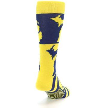 Image of Yellow Blue Michigan Men's Dress Socks (side-1-back-20)