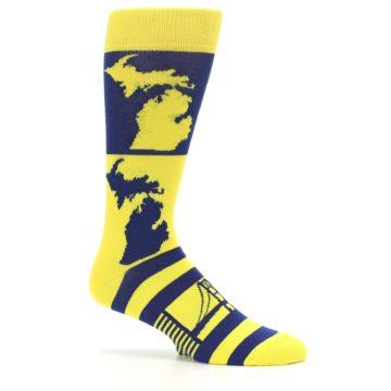 Image of Yellow Blue Michigan Men's Dress Socks (side-1-25)
