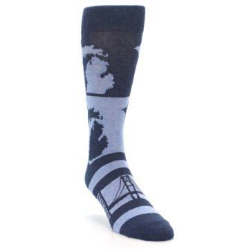 Image of Blue Michigan Men's Dress Socks (side-1-front-02)
