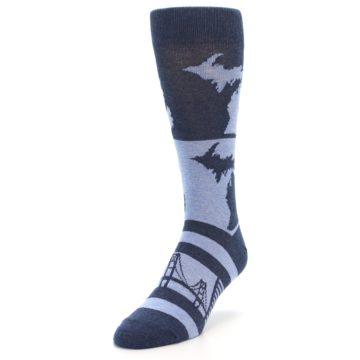 Image of Blue Michigan Men's Dress Socks (side-2-front-07)