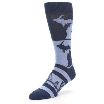 Image of Blue Michigan Men's Dress Socks (side-2-front-08)