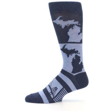 Image of Blue Michigan Men's Dress Socks (side-2-11)