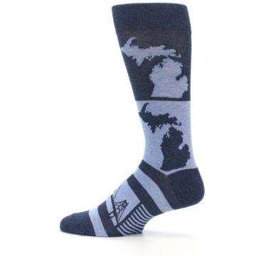 Image of Blue Michigan Men's Dress Socks (side-2-12)