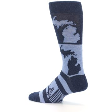 Image of Blue Michigan Men's Dress Socks (side-2-13)