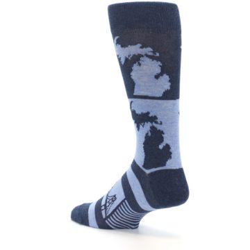 Image of Blue Michigan Men's Dress Socks (side-2-back-14)