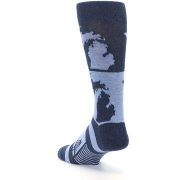 Image of Blue Michigan Men's Dress Socks (side-2-back-15)