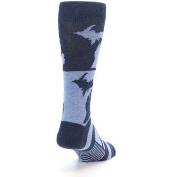 Image of Blue Michigan Men's Dress Socks (side-1-back-20)