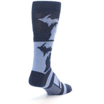 Image of Blue Michigan Men's Dress Socks (side-1-back-21)