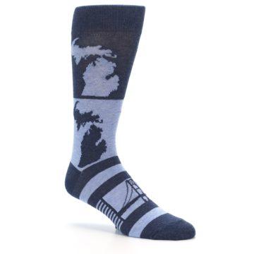 Image of Blue Michigan Men's Dress Socks (side-1-26)