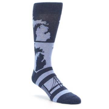 Image of Blue Michigan Men's Dress Socks (side-1-27)