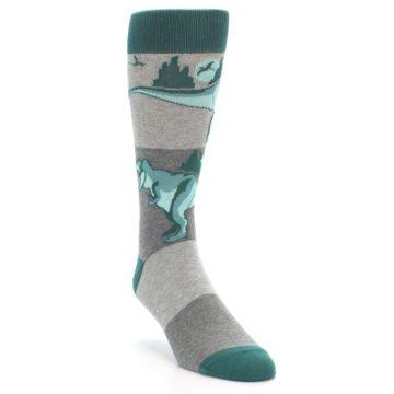Image of Teal Grey T-Rex Dinosaur Men's Dress Socks (side-1-front-02)