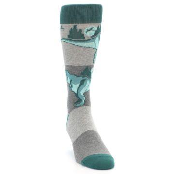 Image of Teal Grey T-Rex Dinosaur Men's Dress Socks (side-1-front-03)