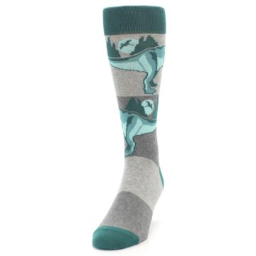 Image of Teal Grey T-Rex Dinosaur Men's Dress Socks (side-2-front-06)