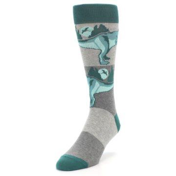 Image of Teal Grey T-Rex Dinosaur Men's Dress Socks (side-2-front-07)