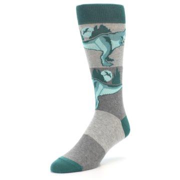 Image of Teal Grey T-Rex Dinosaur Men's Dress Socks (side-2-front-08)