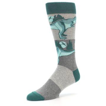 Image of Teal Grey T-Rex Dinosaur Men's Dress Socks (side-2-09)