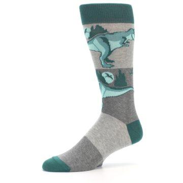 Image of Teal Grey T-Rex Dinosaur Men's Dress Socks (side-2-10)