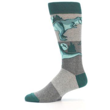 Image of Teal Grey T-Rex Dinosaur Men's Dress Socks (side-2-11)