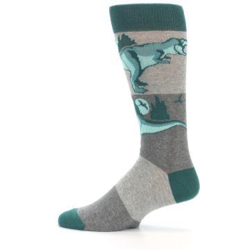 Image of Teal Grey T-Rex Dinosaur Men's Dress Socks (side-2-12)