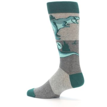 Image of Teal Grey T-Rex Dinosaur Men's Dress Socks (side-2-13)