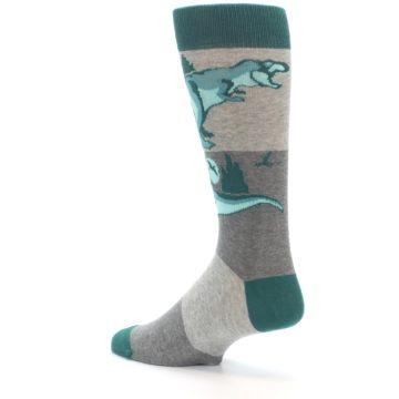 Image of Teal Grey T-Rex Dinosaur Men's Dress Socks (side-2-back-14)