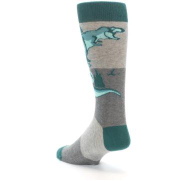 Image of Teal Grey T-Rex Dinosaur Men's Dress Socks (side-2-back-15)