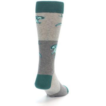 Image of Teal Grey T-Rex Dinosaur Men's Dress Socks (side-1-back-20)