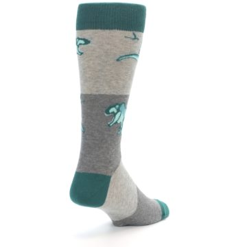 Image of Teal Grey T-Rex Dinosaur Men's Dress Socks (side-1-back-21)