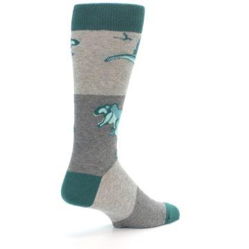 Image of Teal Grey T-Rex Dinosaur Men's Dress Socks (side-1-back-22)