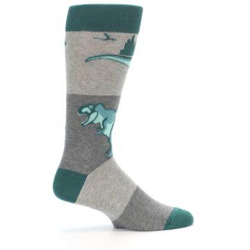 Image of Teal Grey T-Rex Dinosaur Men's Dress Socks (side-1-24)